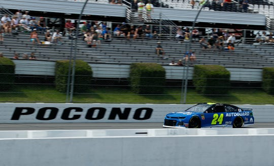 William Byron drives down the front stretch during qualifying for Sunday's NASCAR Cup Series auto race.