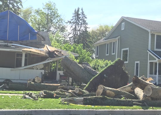 High winds toppled a tree onto a house on Ludlow Avenue, north of University Drive, during storms Saturday in Rochester.