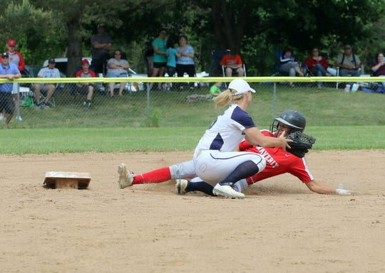 Susquehanna Valley shortstop Maddy Tuttle tags out Waverly's Wendi Hammond at second base during the Section 4 Class B softball championship game June 1, 2019 at the BAGSAI Complex.