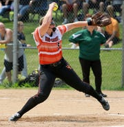 Amanda Kiser pitches for Union-Endicott against Vestal in the Section 4 Class A softball championship game June 1, 2019 at the BAGSAI Complex.