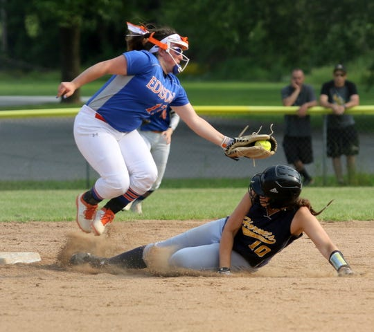 Sidney Cooper of Thomas A. Edison applies the tag on MJ Kappauf of Harpursville at second base during the Section 4 Class C softball championship game June 1, 2019 at the BAGSAI Complex.