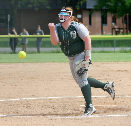 Kay Farro pitches for Vestal against Union-Endicott in the Section 4 Class A softball championship game June 1, 2019 at the BAGSAI Complex.
