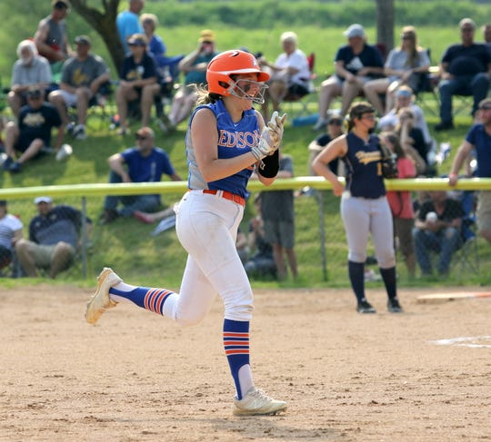 KK Bush of Thomas A. Edison heads toward third base after hitting a home run in a 9-0 win over Harpursville in the Section 4 Class C softball championship game June 1, 2019 at the BAGSAI Complex.