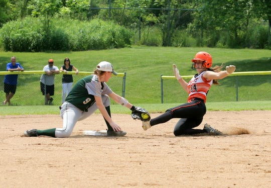 Vestal second baseman Morgan Gendron tags out Union-Endicott's Sarrina Evans at second base  in the Section 4 Class A softball championship game June 1, 2019 at the BAGSAI Complex.