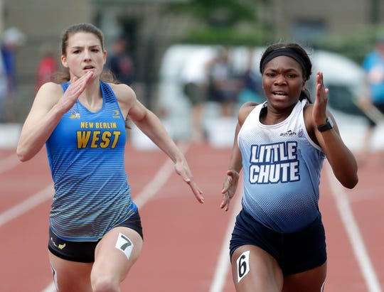 Little Chute's Alyssa Hutcherson competes in the Division 2 200-meter dash during the WIAA state track and field meet Saturday, June 1, 2019 at Veterans Memorial Field Sports Complex in La Crosse, Wis.
