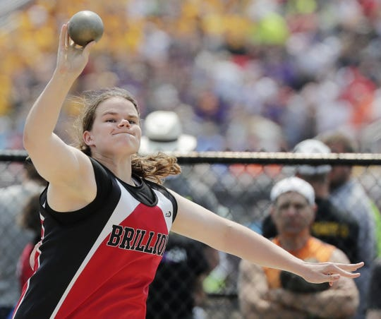 Brillion's Emily Cohen throws in the Division 2 shot put competition at the 2019 WIAA state track and field meet at Veterans Memorial Field on Saturday, June 1, 2019 in La Crosse, Wis.