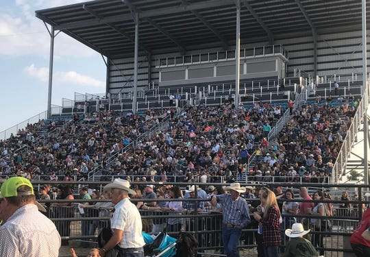 Several hundred spectators and bull riding fans pack the newly-built grandstands at Montana Expopark for Saturday's Dusty Gliko Bull Riding Challenge