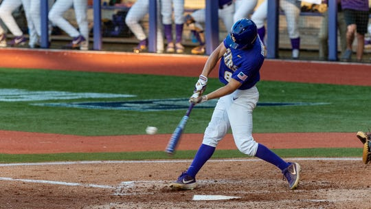 Antoine Duplantis gets a hit at the plate as the LSU Tigers take on the Southern Mississippi Golden Eagles in the 2019 NCAA Regional Tournament in Baton Rouge Saturday, June 1, 2019.