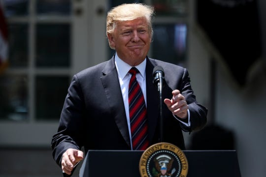 President Donald Trump delivers remarks in the Rose Garden of the White House on May 16.