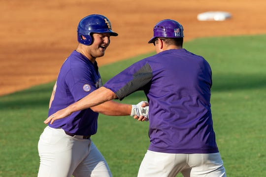Cade Beloso hits a homerun as The LSU Tigers take on the Southern Miss Golden Eagles in the 2019 NCAA Regional Tournament in Baton Rouge, LA.  Saturday, June 1, 2019.
