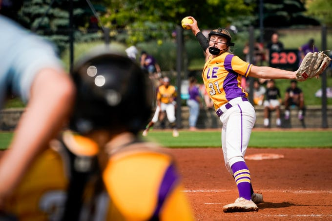 Males's Kelsie Houchens pitches the KHSAA Semi-State Softball Game against Oldham County played at the University of Louisville in  Louisville, Ky., Saturday, Jun 1, 2019.