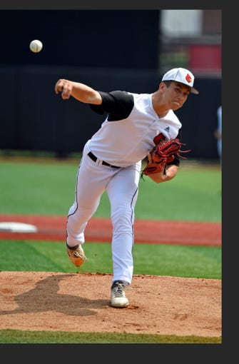 Louisville pitcher Bobby Miller (15) pitches to the Indiana side during action of their NCAA regional game on June 2, 2019.