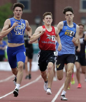 Valders' Nate Griepentrog runs toward the finish line during  the Division 2 800-meter run at the WIAA state track and field meet Saturday. Griepentrog won the race with a time of 1 minute, 57.06 seconds.