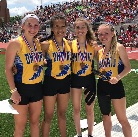 The Ontario 4x800 team of Anna Gregg, sophomore Ariah Reuer, freshman Ellie Maurer and junior sibling Grace Maurer took third place during the Division II state track meet.