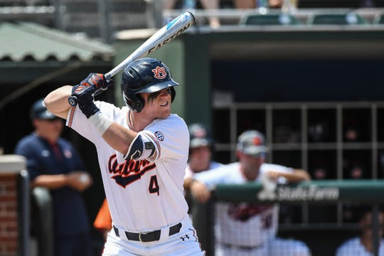 Auburn infielder Rankin Woley bats against Georgia Tech on Saturday, June 1, 2019.
