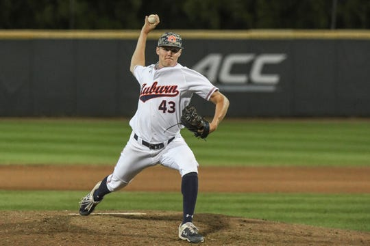 Auburn right-hander Richard Fitts (43) pitches against Georgia Tech during an NCAA Regional on Saturday, June 1, 2019, in Atlanta, Ga.