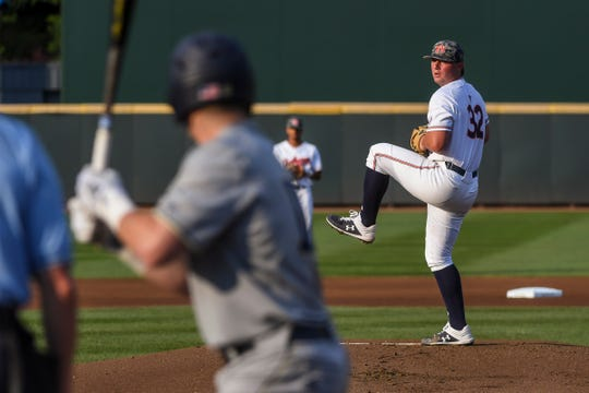 Auburn's Tanner Burns pitches against Georgia Tech during an NCAA Regional on Saturday, June 1, 2019, in Atlanta, Ga.