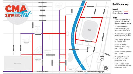 Map of CMA Fest road closures