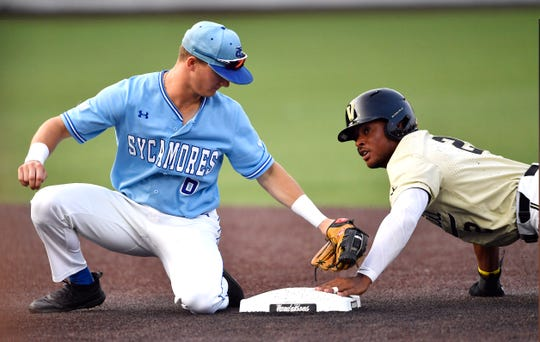 Vanderbilt second baseman Harrison Ray (2) beats the tag from Indiana State shortstop Clay Dungan (6) to steal second in the fourth inning during the NCAA Division I Baseball Regionals at Hawkins Field Saturday, June 1, 2019, in Nashville, Tenn.