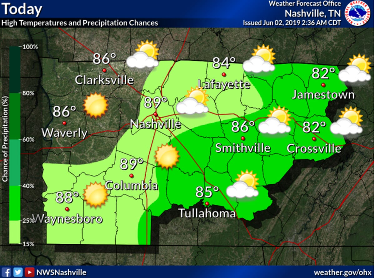 Weather in Nashville for CMA Fest 2019: Rain to continue