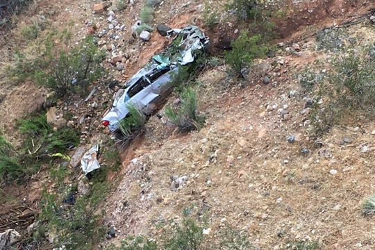 This Friday, May 31, 2019, photo released by the Beaver Dam Littlefield Fire District, shows a vehicle rescued from the Virgin River along Interstate 15 by bridge 7 near Littlefield, Ariz.