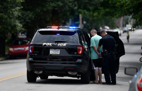 York City Police arrested a man who crashed his car through a tree, fire hydrant, a car and finally another tree at the corner of Linden Ave. and N. West Street, Sunday, June 2, 2019. According to police on the scene, the subject crashed during an drug overdose and needed revived with Narcan. The subject then refused treatment from EMS before being taken into custody by police.