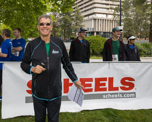 Race Director Eric Lerude at the start line of the 2019 Reno Tahoe Odyssey at Wingfield park in Reno on May 31, 2019.