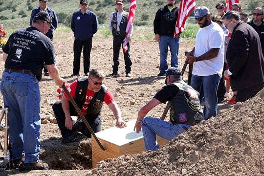 Images of a memorial held in honor of WWII veteran, Cpl. Thomas McGinty, who died at the age of 103 in April. The memorial was held at Hungry Valley Cemetery on June 1, 2019.