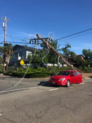 A vehicle hit a power pole at Shasta View Drive and Wilson Avenue, knocking over the pole and forcing officials to close Shasta View Drive on Sunday.