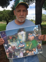 Daniel Ramirez, holding a collage with pictures of his son Daniel Ramirez Junior who was just 32-years-old when his life was taken away.