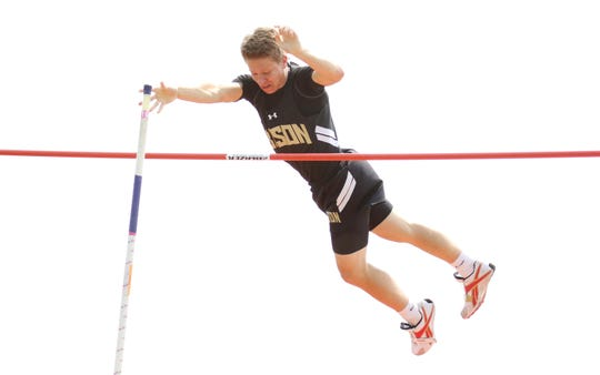 Buffalo Gap's Tucker Kiracofe competes in the pole vault at the VHSL 1A/2A state track and field championships at East Rockingham High School in Elkton on Saturday, June 1, 2019.