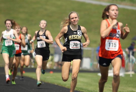 Buffalo Gap's Annika Fisher competes in the 800 meter run at the VHSL 1A/2A state track and field championships at East Rockingham High School in Elkton on Saturday, June 1, 2019.