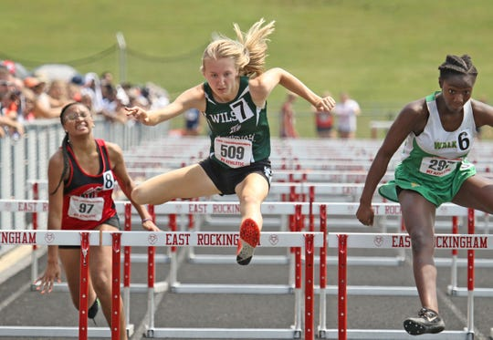 Wilson Memorial's Paige Miller competes in the 100 meter hurdles at the VHSL 1A/2A state track and field championships at East Rockingham High School in Elkton on Saturday, June 1, 2019.