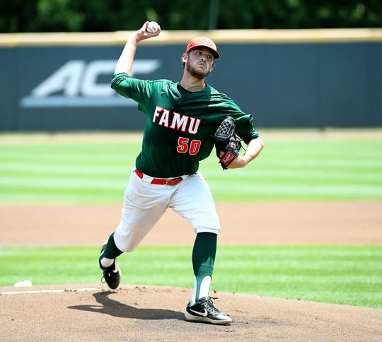 FAMU pitcher Josh Hancock throws from the mound versus Coastal Carolina on Saturday, June 1, 2019.