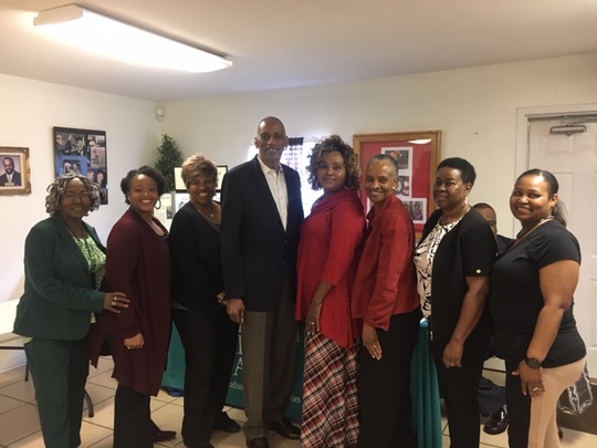 Pictured are the members of the Day of Dialogue Steering Committee who were present at the event (left to right):  Arrie Battle, Talitha Robinson, Alma Pugh, Fred Seamon (Chairperson), Cheryl Graham, Penny Ralston, Jackie Robinson, and Tonya Bell. Not pictured are Cara Brown, Elsie Crowell and Grace Keith.