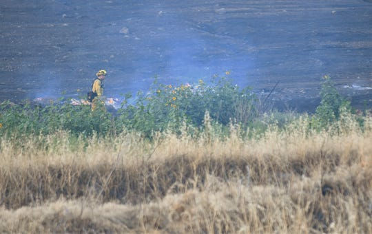 Tulare County firefighters battled a grass fire in Exeter on Saturday, June 1, 2019.