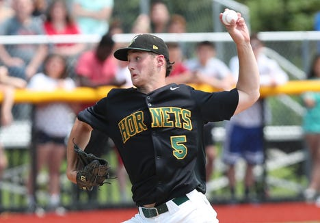 Lakeland's Joey Vetrano pitching against Nyack during the Section 1 Class A championship at Pace University in Pleasantville June 1,  2019. Nyack won the game 2-0.
