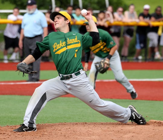 Evan Berta of Lakeland pitched a complete game as Lakeland defeated Nyack 5-4 to capture the Section 1 Class A baseball championship at Pace University June 2, 2019.