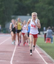 Katelyn Tuohy of North Rockland leads the pack during the girls 1,500 at the Section 1 State Track & Field Qualifier at White Plains High School on Saturday, June 1, 2019.