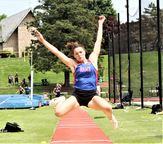 Carmel senior Caroline Douglas long-jumped more than 18 feet for the first time during the Eastern States Championships at Iona Prep on June 2, 2019. That qualified her for the State Championships.