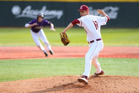 Elon pitcher George Kirby in a game vs. James Madison at Latham Park on Saturday, March 30, 2019 in Elon, North Carolina. Kirby, a Rye graduate, is projected to be a first round draft pick in the upcoming MLB Draft.