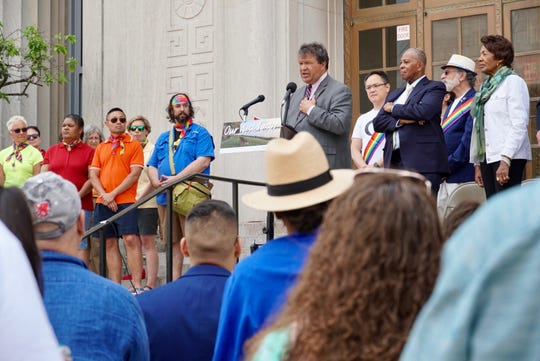 Westchester County Executive George Latimer speaks at a flag-rising ceremony in White Plains, June 2, 2019. An LGBTQ pride flag was hoisted in front of the county municipal building for the first time in history.