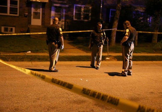 New Castle County Police investigate after a report of a shooting on Fourth Avenue in Claymont about 9:30 p.m. Saturday.