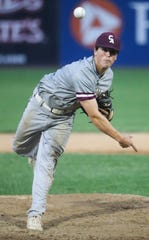 Caravel's Kevin Keister throws in his start and the Bucs' 5-1 win in a DIAA Baseball Tournament semifinal against Salesianum Saturday at Frawley Stadium.
