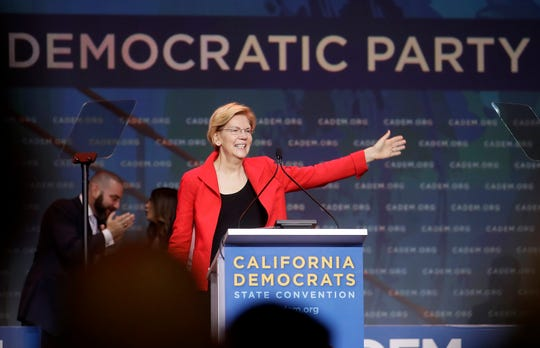 Democratic presidential candidate Sen. Elizabeth Warren, D-Mass., waves before speaking during the 2019 California Democratic Party State Organizing Convention in San Francisco, Saturday, June 1, 2019.