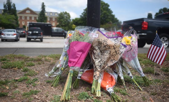 Flowers in a makeshift memorial on June 1, 2019, in Virginia Beach, Virginia.