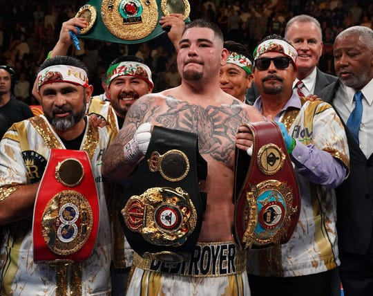 Andy Ruiz Jr. celebrates his upset victory over Anthony Joshua.