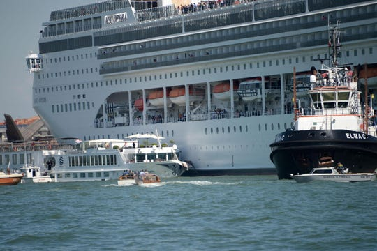 The cruise ship MSC Opera is seen after the collision with a tourist boat, in Venice, Italy, June 2. The cruise ship smashed into a dock located on the Giudecca Canal in Venice.