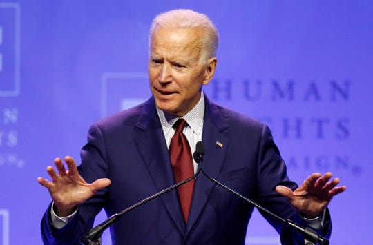 Democratic presidential candidate, former Vice President Joe Biden speaks during the Human Rights Campaign Columbus, Ohio Dinner at Ohio State University Saturday, June 1, 2019.