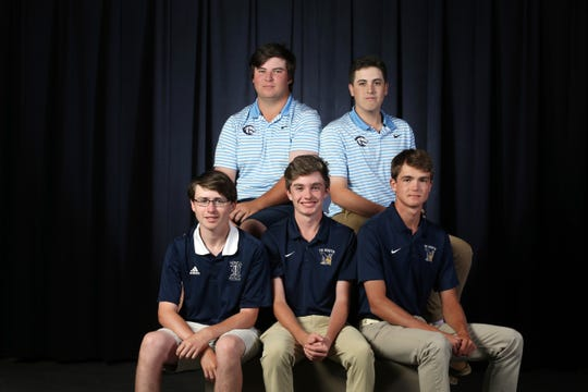 (top row) CBA's Brendan Hansen, CBA's Randall Lazzaro, (bottom row) Howell's Travis Dix, Toms River North's Leo Kean and Toms River North's Connor Bekefi pose for a photo during the All-Shore boys golf photo shoot at the Asbury Park Press In Neptune, NJ Monday June 3, 2019.